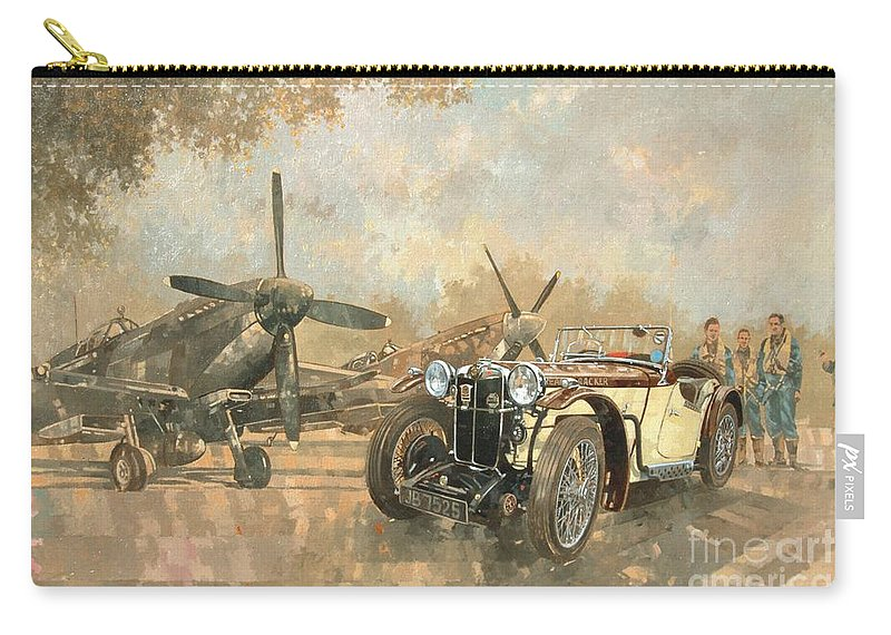 Vehicle; Airplane; Aeroplane; Plane; Military; Airforce; Vintage Car; Planes; Aeroplanes; Airplanes; Classic Cars; Auto; Spitfire Carry-all Pouch featuring the painting Cream Cracker Mg 4 Spitfires 1 by Peter Miller