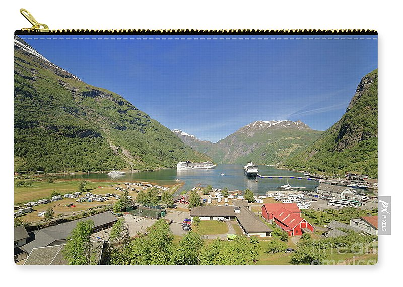 Cruise Carry-all Pouch featuring the photograph Cruise In Geiranger Fjord Norway by Arild Lilleboe