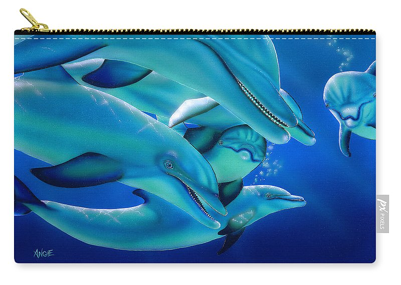 Blue Carry-all Pouch featuring the painting Curiosity by Angie Hamlin