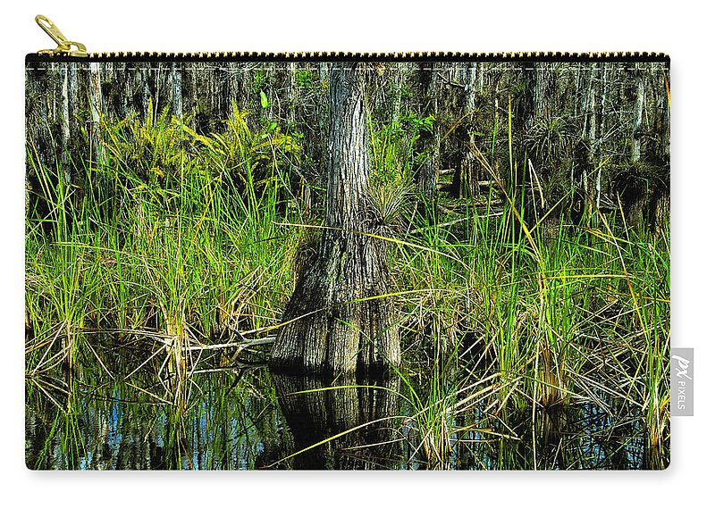 Cypress Trees Carry-all Pouch featuring the painting Cypress Tree by David Lee Thompson