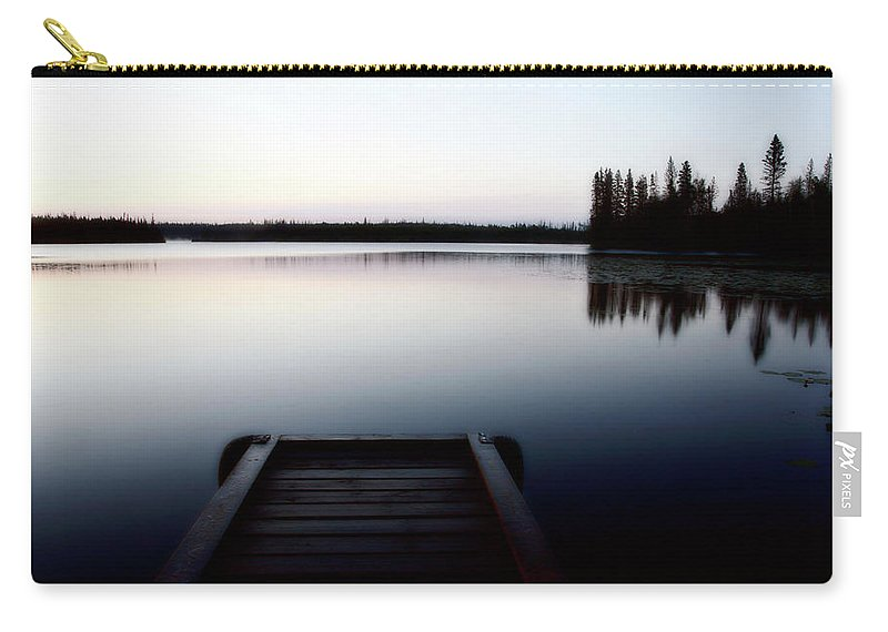 Reflections Carry-all Pouch featuring the digital art Dawn At Lynx Lake In Northern Saskatchewan by Mark Duffy