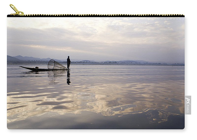 Sunrise Carry-all Pouch featuring the photograph Dawn On Inle Lake by Michele Burgess