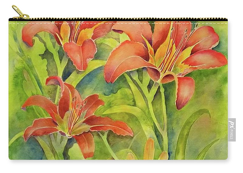 Watercolor. Day Lilies Carry-all Pouch featuring the painting Day Lilies by Kristen Anderson Hill