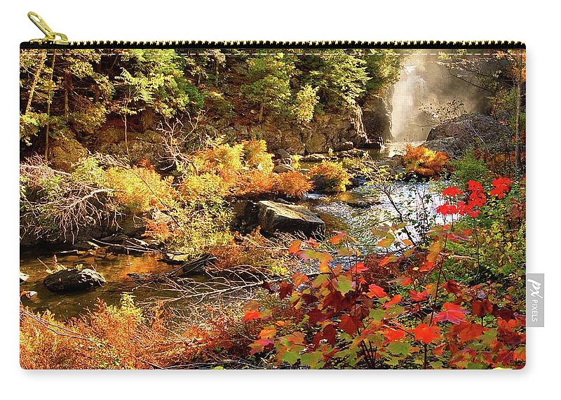 Dead River Falls Carry-all Pouch featuring the photograph Dead River Falls Marquette Michigan by Michael Bessler
