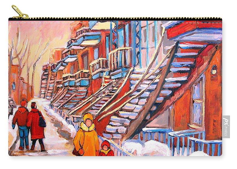 Debullion Street Winter Walk Carry-all Pouch featuring the painting Debullion Street Winter Walk by Carole Spandau