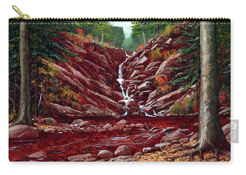 Frank Wilson Carry-all Pouch featuring the painting Deepwoods Cascade by Frank Wilson