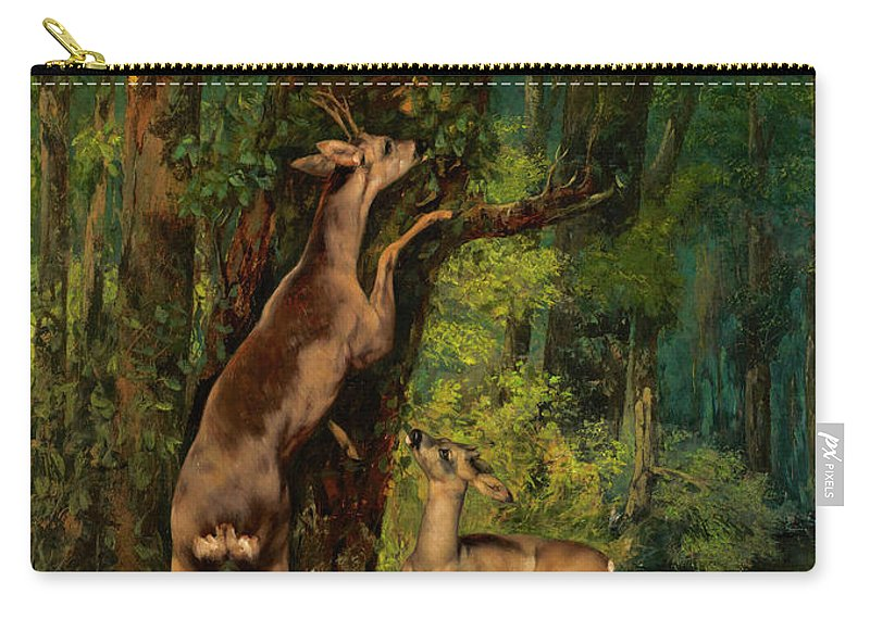 Deer In The Forest Carry-all Pouch featuring the painting Deer In The Forest, 1868 by Gustave Courbet