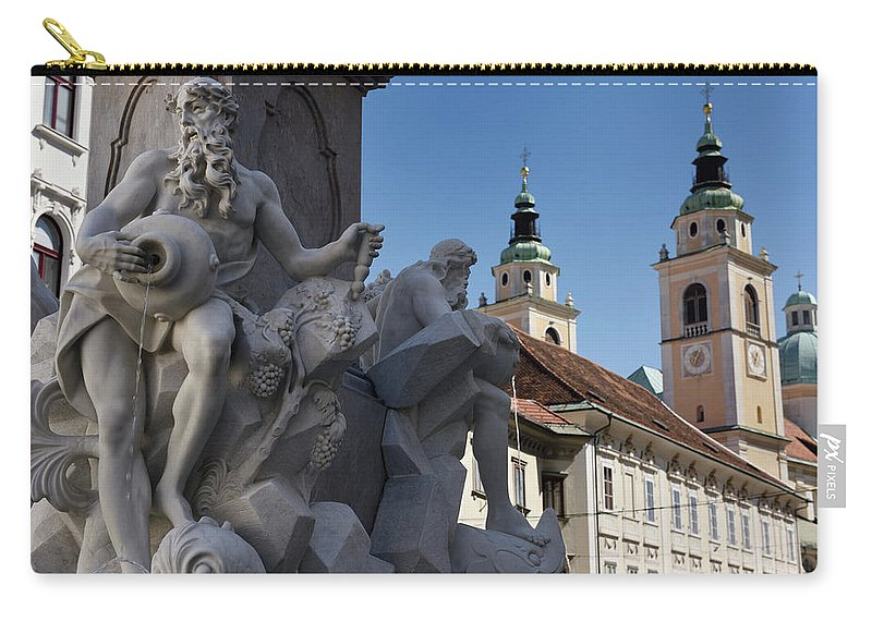 Detail Carry-all Pouch featuring the photograph Detail Of The Robba Marble Scultpure On The Fountain Of The Thre by Reimar Gaertner