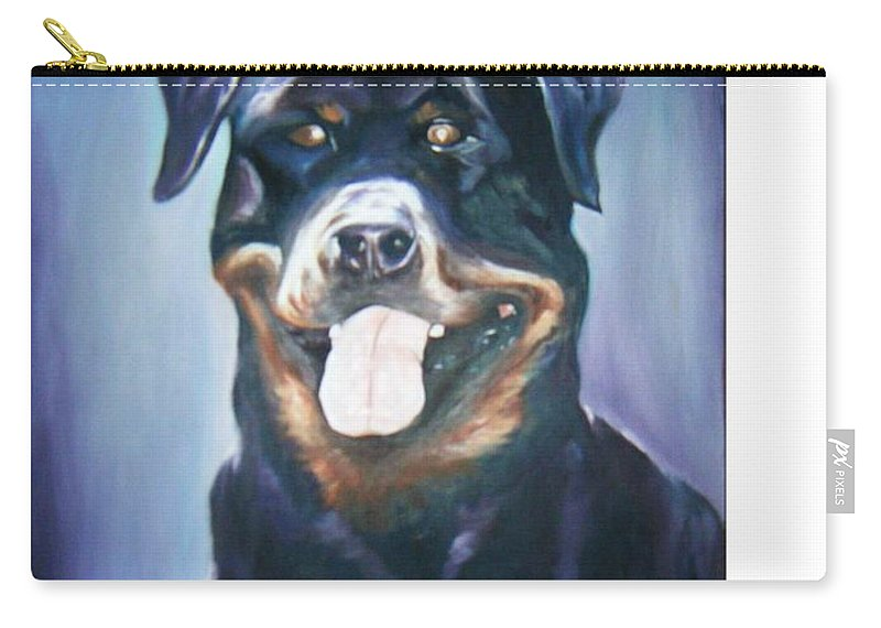 Dog Paintings Carry-all Pouch featuring the painting Dog by Olaoluwa Smith