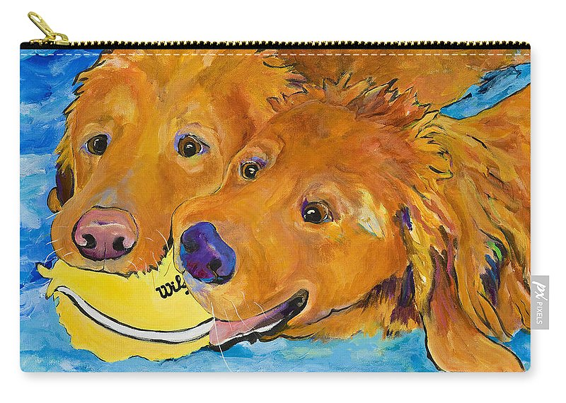 Golden Retriever Carry-all Pouch featuring the painting Double Your Pleasure by Pat Saunders-White