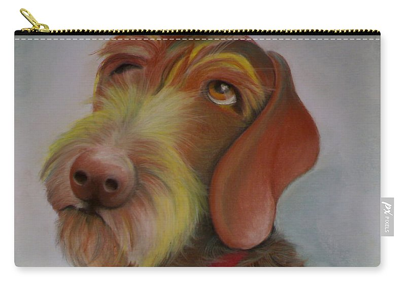 Drahthaar Carry-all Pouch featuring the painting Drahthaar by Catt Kyriacou