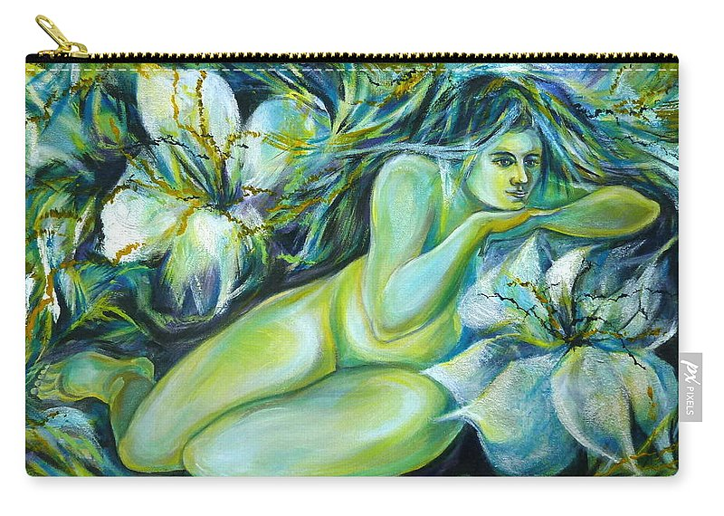 Fantasy Art Carry-all Pouch featuring the painting Dreaming Flower by Anna Duyunova