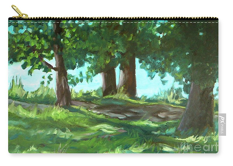 Expressionist Landscape Carry-all Pouch featuring the painting Dreaming On Fellows Lake by Jan Bennicoff
