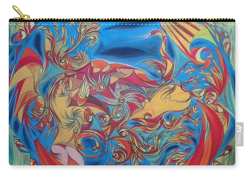 Abstract Carry-all Pouch featuring the pastel EAT by Robert Nickologianis
