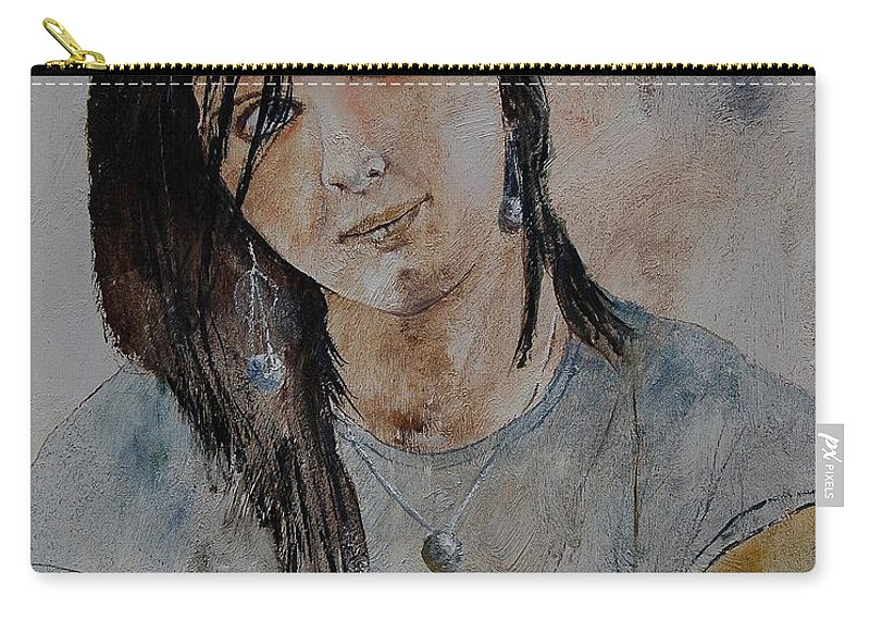 Girl Carry-all Pouch featuring the painting Eglantine 564 by Pol Ledent