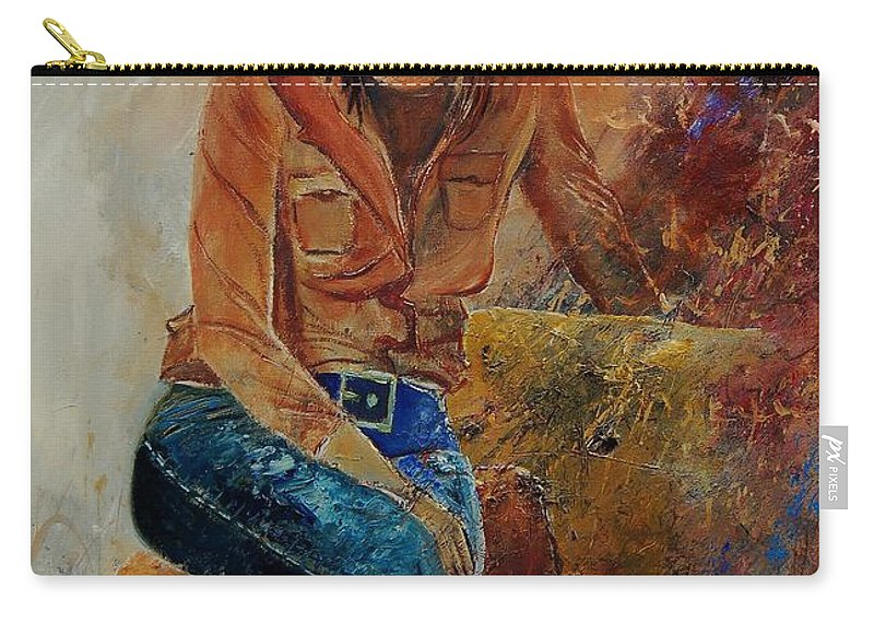 Girl Carry-all Pouch featuring the painting Eglantine 579001 by Pol Ledent