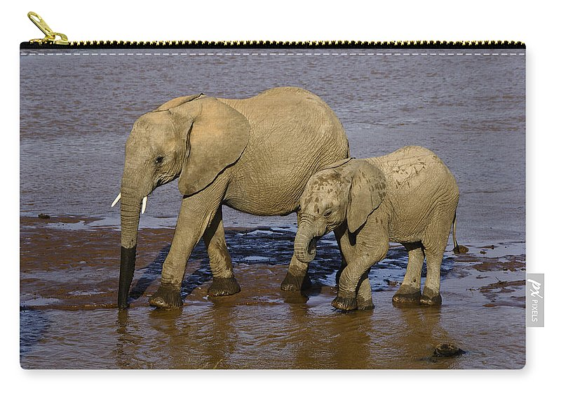 Africa Carry-all Pouch featuring the photograph Elephant Crossing by Michele Burgess