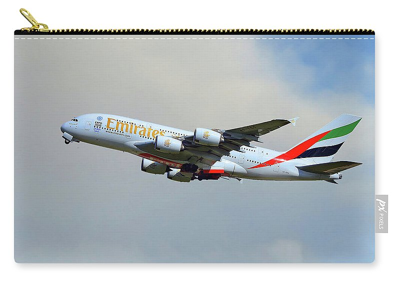 Emirates Carry-all Pouch featuring the photograph Emirates Airbus A380-861 by Smart Aviation