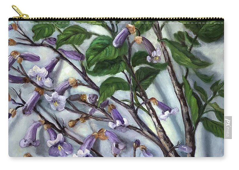 Flowering Tree Carry-all Pouch featuring the painting Empress Tree by Randy Burns