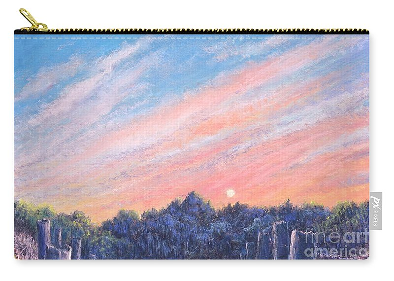 Vibrant Paintings Carry-all Pouch featuring the painting enchanced Catching the Sunset by Penny Neimiller