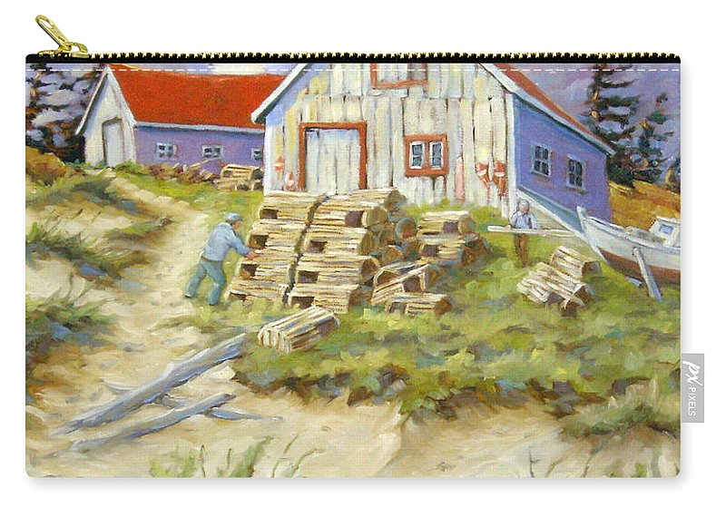 Art Carry-all Pouch featuring the painting End Of Lobster Season by Richard T Pranke