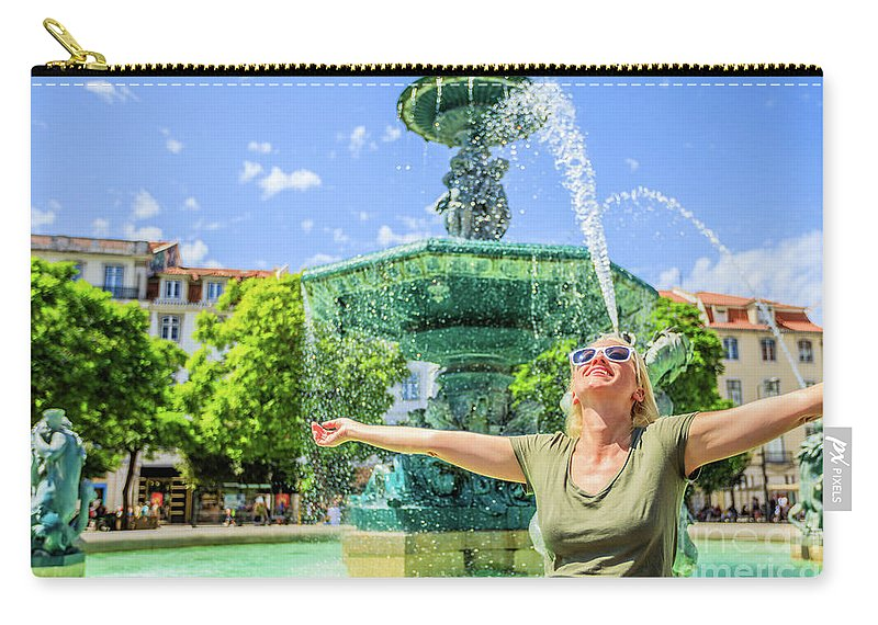 Lisbon Carry-all Pouch featuring the photograph Enjoying In Lisbon by Benny Marty