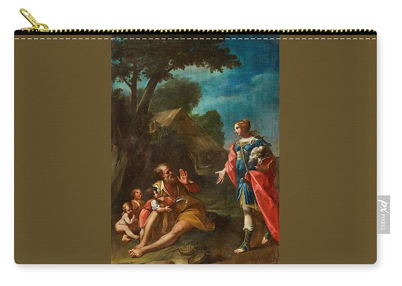 Girolamo Donnini Carry-all Pouch featuring the painting Erminia Among The Shepherds by Girolamo Donnini