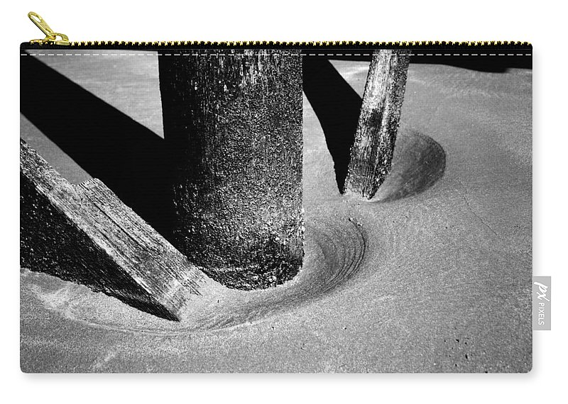 Black And White Carry-all Pouch featuring the photograph Erosion by Jamie Lynn