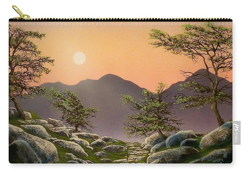 Evening Moonrise Carry-all Pouch featuring the painting Evening Moonrise by Frank Wilson