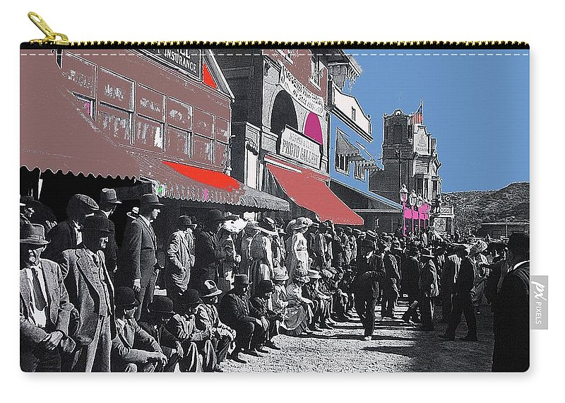 Extras The Great White Hope Set Recreation Reno Nevada July 4th 1910 Carry-all Pouch featuring the photograph Extras The Great White Hope Set Recreation Reno Nevada July 4th 1910 by David Lee Guss