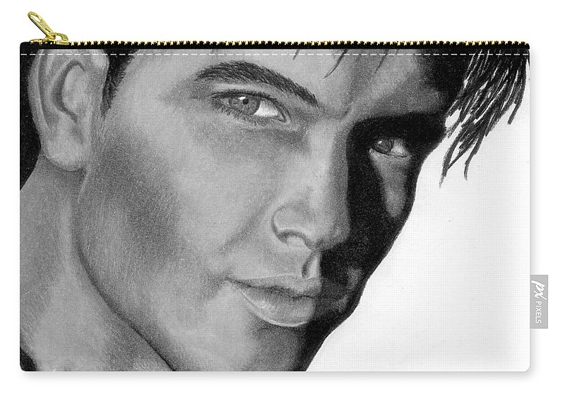 Male Carry-all Pouch featuring the drawing Eyes by Kristen Wesch