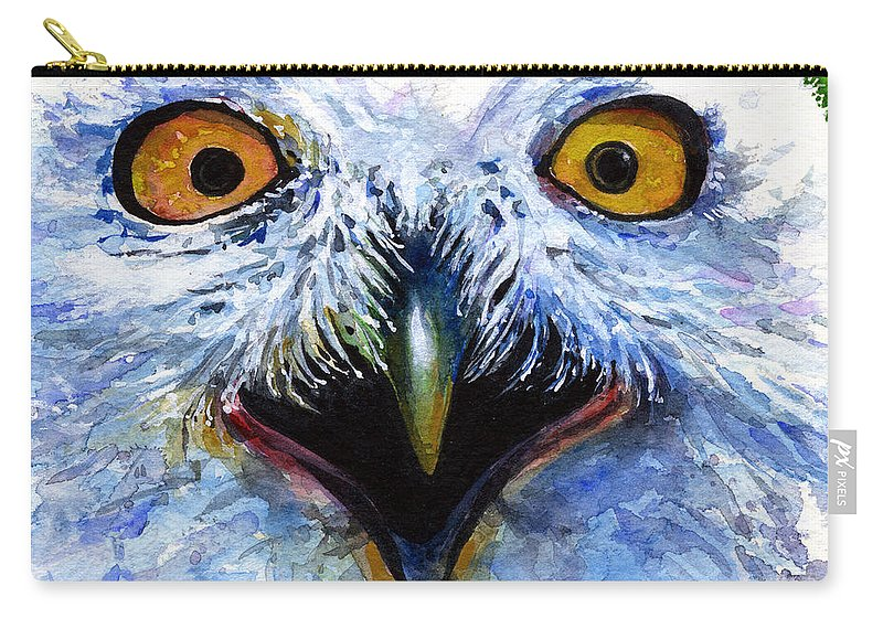 Eye Carry-all Pouch featuring the painting Eyes Of Owls No. 15 by John D Benson