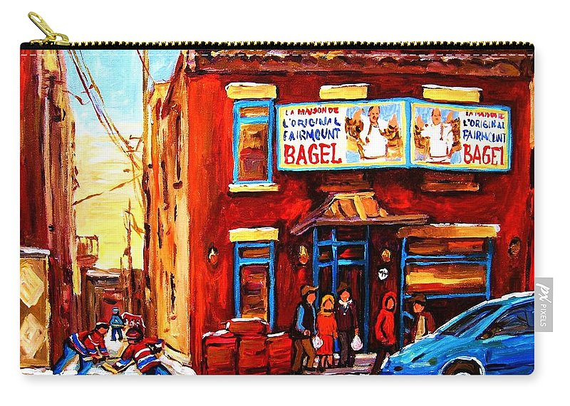 Hockey Carry-all Pouch featuring the painting Fairmount Bagel In Winter by Carole Spandau