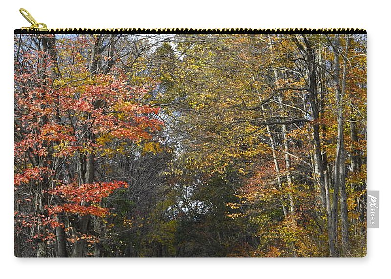 Fall Scene Carry-all Pouch featuring the photograph Fall Lane by Penny Neimiller