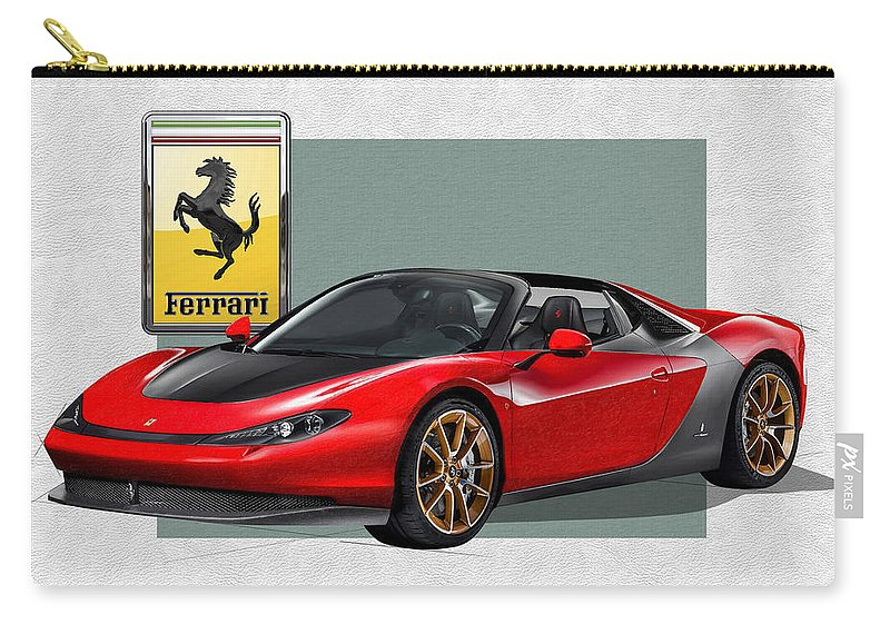 �ferrari� Collection By Serge Averbukh Carry-all Pouch featuring the photograph Ferrari Sergio with 3D Badge by Serge Averbukh