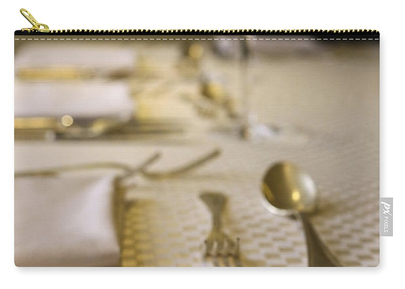Atmosphere Carry-all Pouch featuring the photograph Festive Table Setting For A Formal Dinner by Oren Shalev