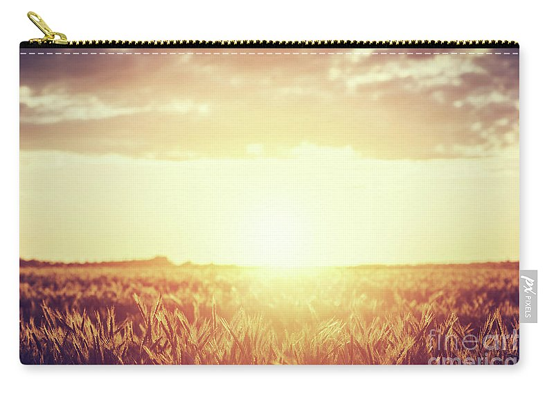 Field Carry-all Pouch featuring the photograph Field, Countryside At Sunset. Harvest Time. Vintage by Michal Bednarek
