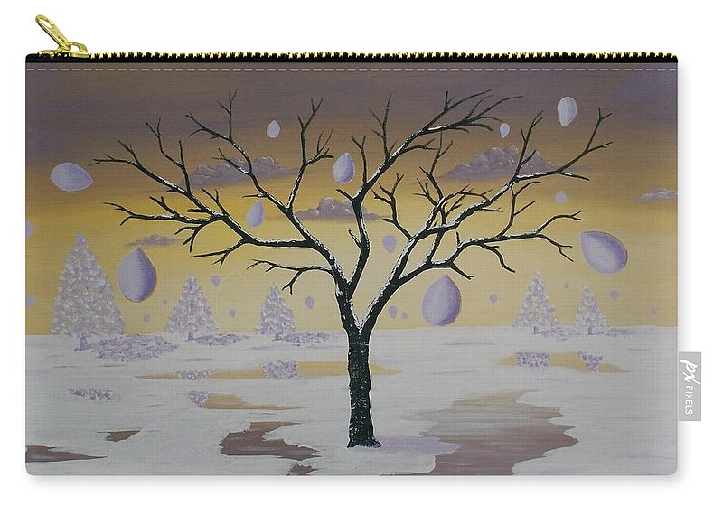 Abstract Acrylic Painting Carry-all Pouch featuring the painting Field Of Potentials by Georgeta Blanaru
