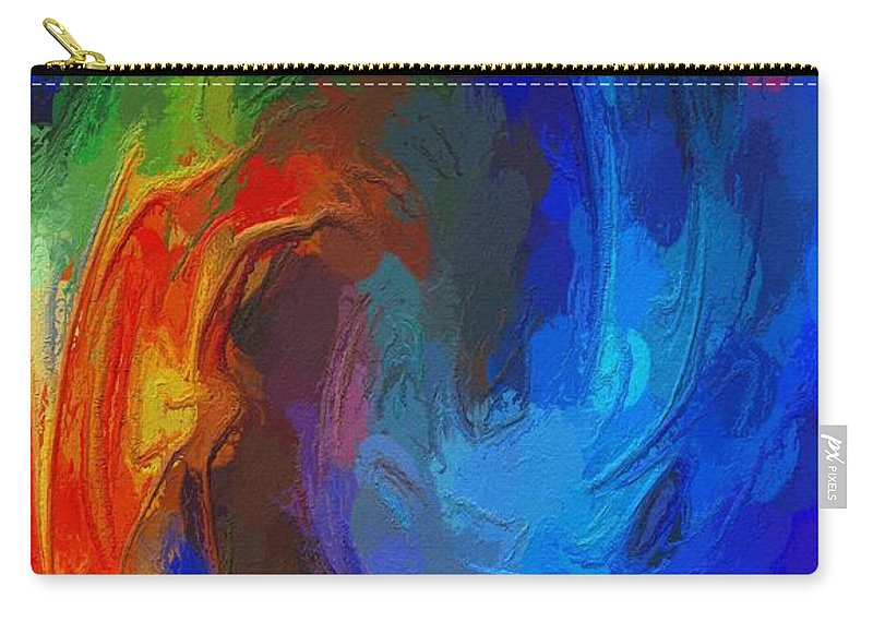 Abstract Color Colorful Expressionism Fire Ice Carry-all Pouch featuring the painting Fire And Ice by Steve K