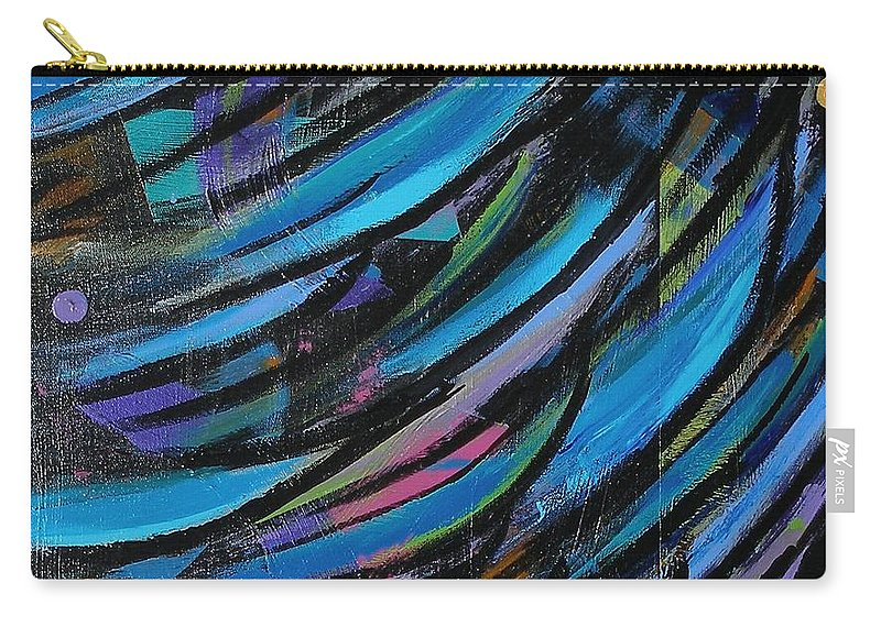 Blue Carry-all Pouch featuring the painting Fireworks by Maria Bonnier-Perez