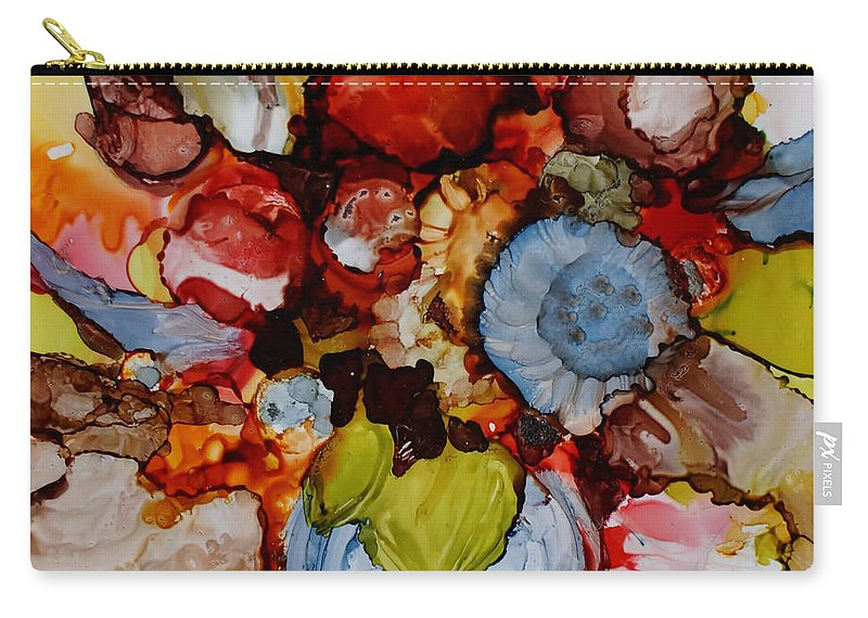 Floral Carry-all Pouch featuring the painting Floral with Blue Vase by Jo Smoley