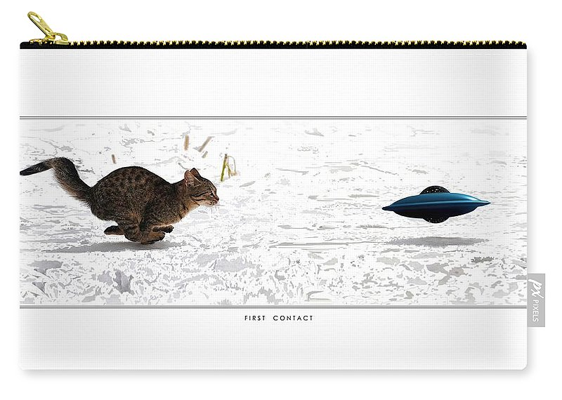 Domestic Cat Flying Saucer Ufo Predator Prey Little Green Men Aliens Visitation Carry-all Pouch featuring the digital art First Contact by Skipper Elliott Memmott