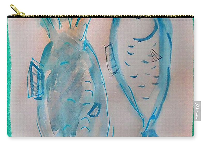 Plate Carry-all Pouch featuring the mixed media Fish by Samuel Zylstra