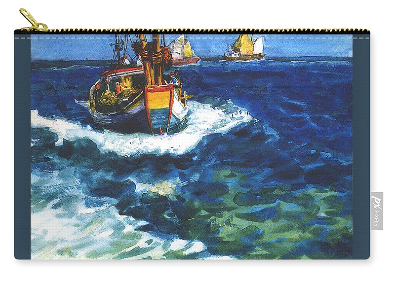 Fishing Carry-all Pouch featuring the painting Fishing Boat by Guanyu Shi