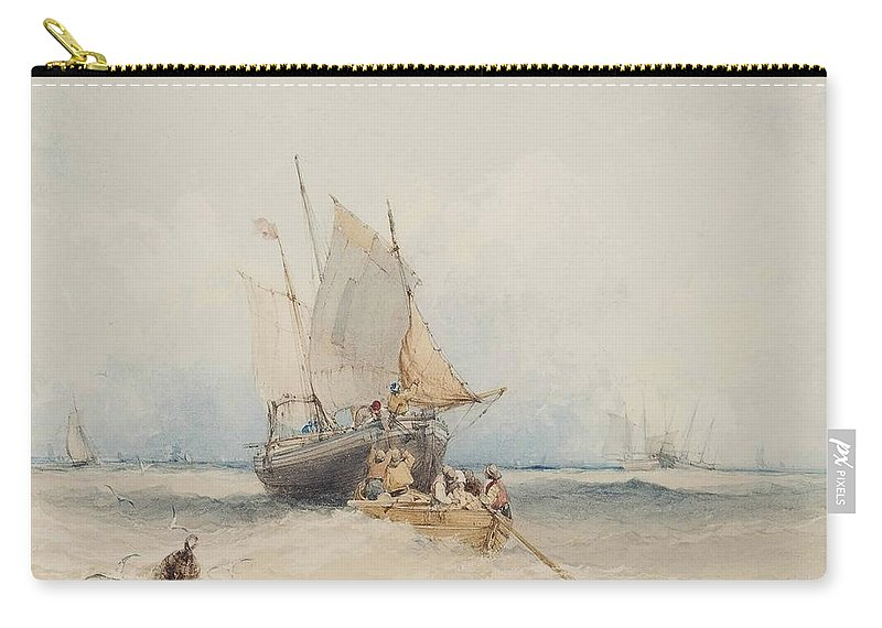 William Callow Carry-all Pouch featuring the painting Fishing Boats Off Lowestoft by MotionAge Designs