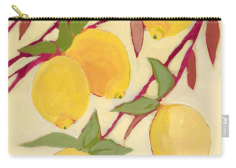 Lemon Carry-all Pouch featuring the painting Five Lemons by Jennifer Lommers