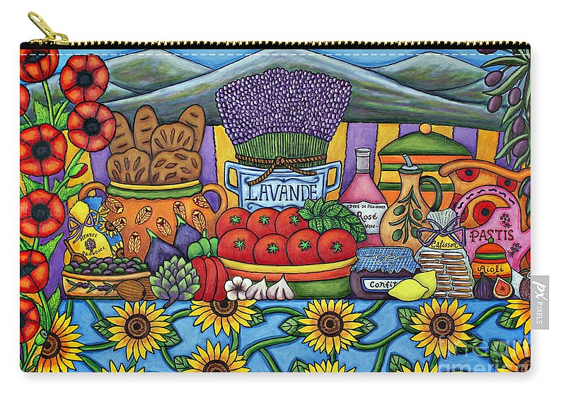 Provence Carry-all Pouch featuring the painting Flavours of Provence by Lisa Lorenz