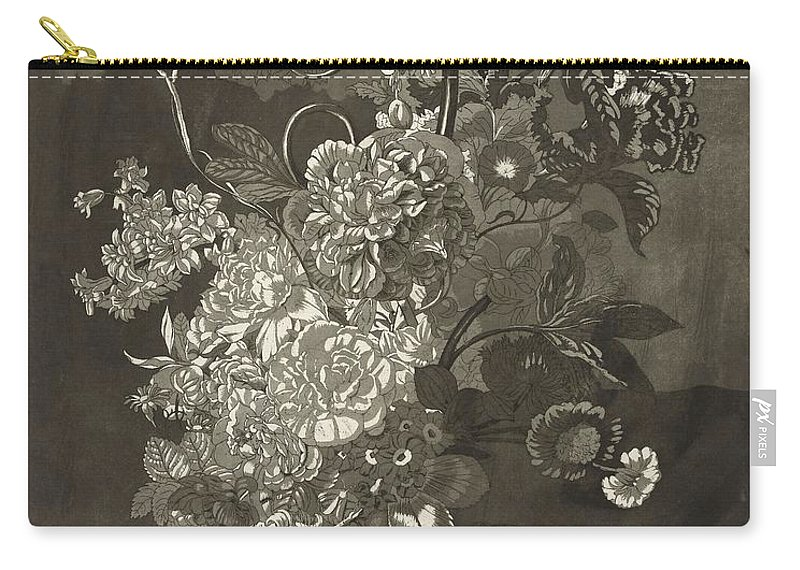 Flower Carry-all Pouch featuring the painting Flower Of The Peony, Cj Crumb, 1700 - 1800 by CJ Crumb