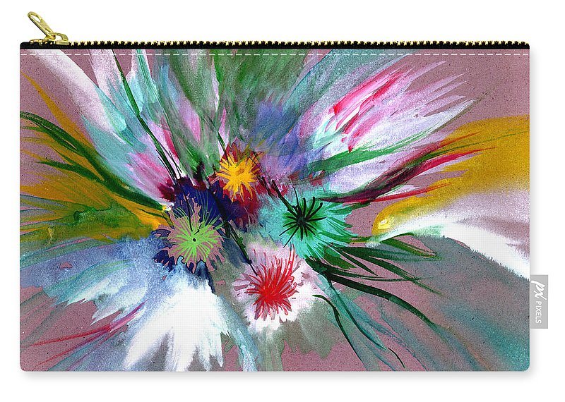Flowers Carry-all Pouch featuring the painting Flowers by Anil Nene