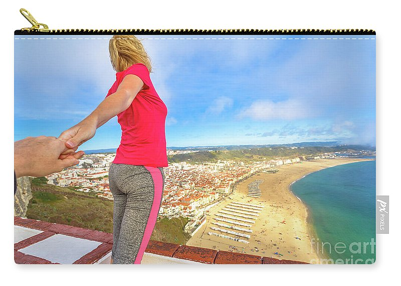 Nazare Portugal Carry-all Pouch featuring the photograph Follow Me In Portugal by Benny Marty